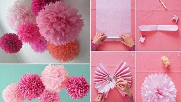 Pompones de papel! Mira como hacerlo tu misma.