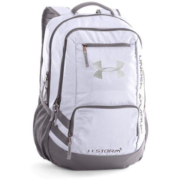 Under Armour White Storm Hustle Ii Backpack ($55) ❤ liked on Polyvore featuring bags, backpacks, white, white rucksack, lightweight bags, under armour bag, white bag and polyurethane bags