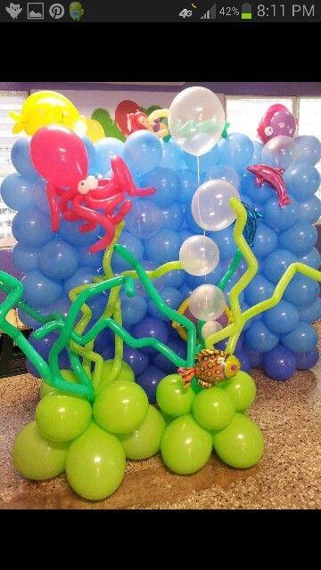 Decoracion con globos del fondo del mar
