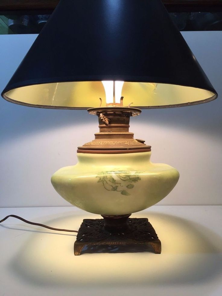 Antique Handpainted Round Square Shape Green Glass Vase W Brass Table Lamp