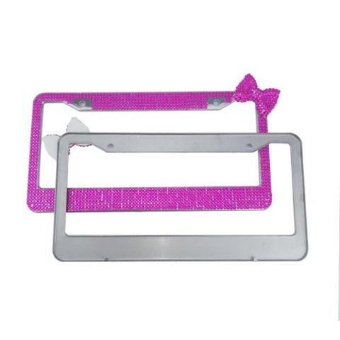 Handmade Bling Rhinestones  Bow  Stainless Steel Deep Pink License Plate Frame