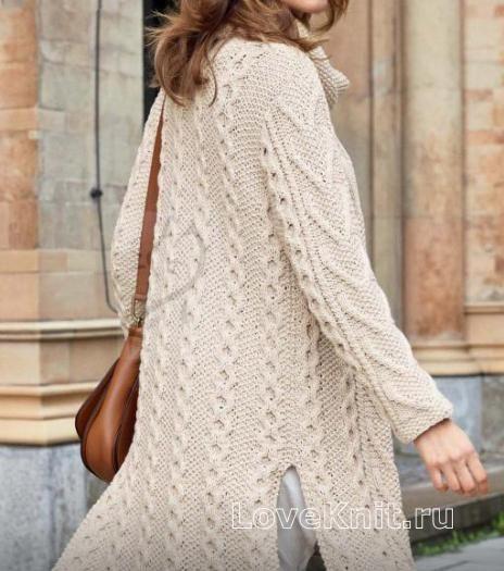 Пальто с высокими боковыми разрезами схема спицами » Люблю Вязать