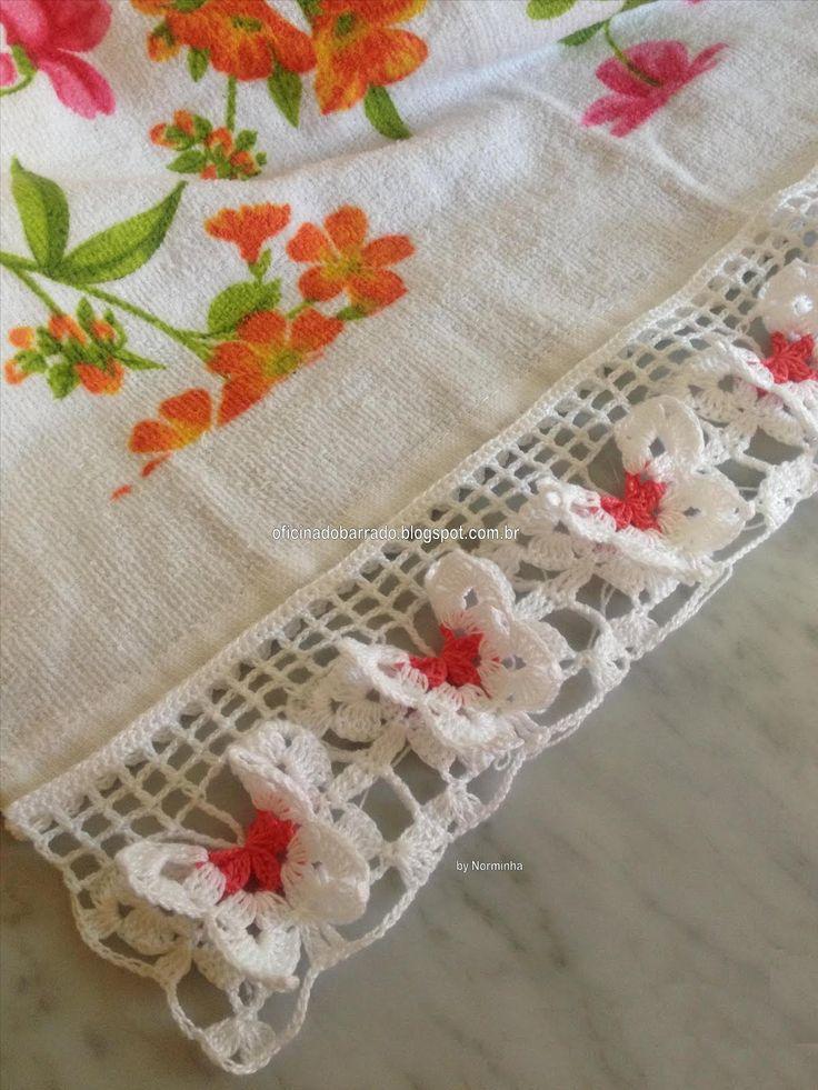 Crochet Butterfly Edging. ☀CQ #crochet #birds #butterflies  http://www.pinterest.com/CoronaQueen/crochet-birds-and-butterflies-corona/