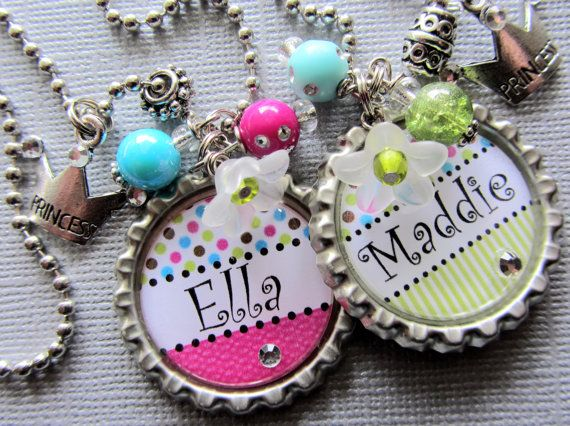 Princess Crown PERSONALIZED NAME Bottle Cap Necklace - Sister Gift, Birthday Gift, Flower Girl, Best Friend Gift