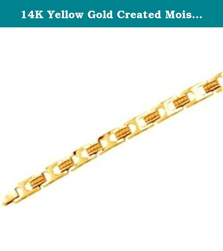 14K Yellow Gold Created Moissanite and Diamond Gents Bracelet. 14K Yellow Gold Created Moissanite and Diamond Gents Bracelet.