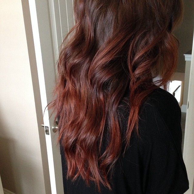 Her formula is Redken Shades EQ Cherry Cola + Rocket Fire (50/50) only applied to the bottom 3/4's of her hair.