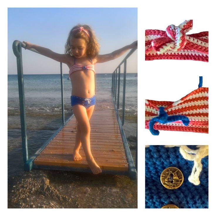 Handmade crochet sailor bikini with headband