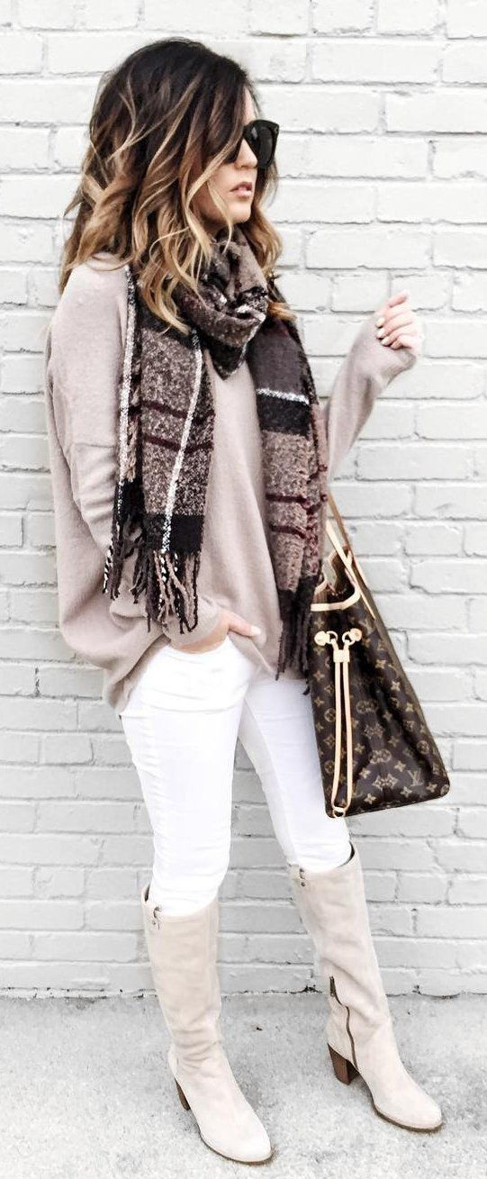 #winter #fashion /  Printed Scarf / Beige Knit / White Skinny Jeans / Grey Boots