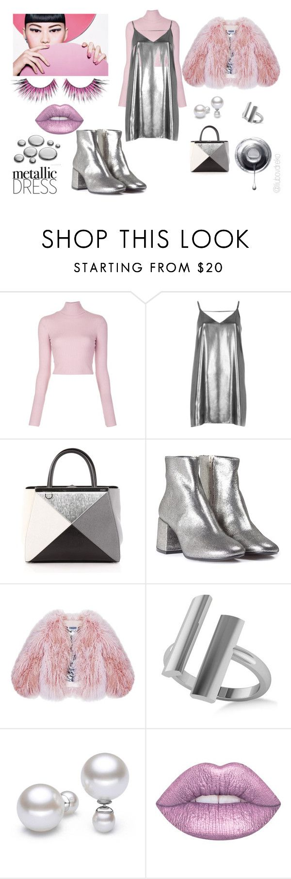 """Metallic dress"" by liubovdreko-1 on Polyvore featuring мода, A.L.C., River Island, Fendi, MM6 Maison Margiela, Florence Bridge, Allurez, Lime Crime, MAKE UP FOR EVER и metallic"