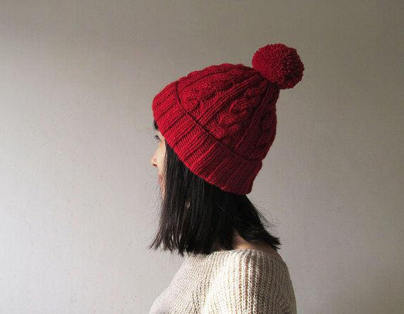 Cable Knit Hat in Red Womens Pom Pom hat Hand Knit Beanie