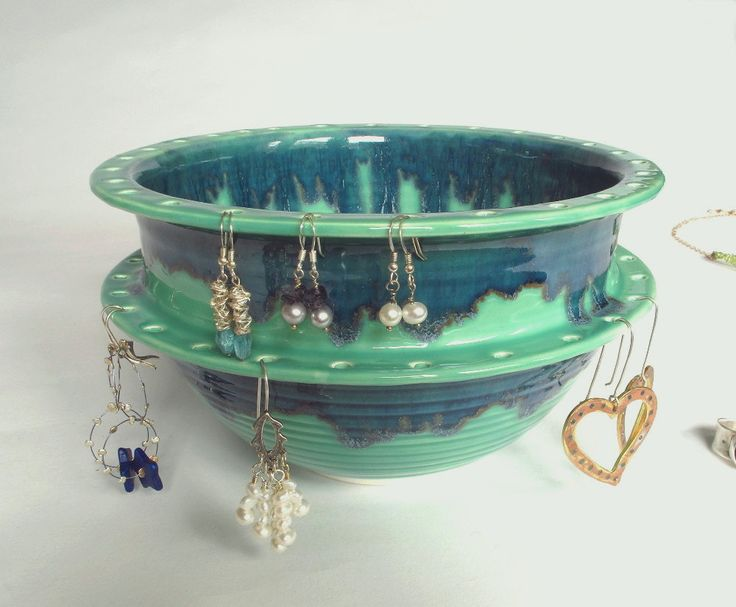 Large Earring Bowl, Jewelry Bowl, Green, Double Decker, Handmade Ceramics, For Her, Storage, Organizer Mother's Day. $68.00, via Etsy.