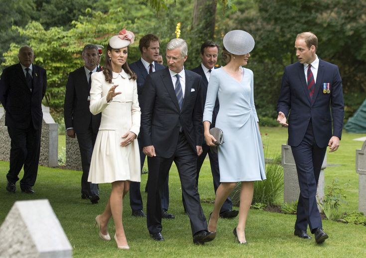 August 4, 2014 - St. Symphorien Military Cemetery, with Prince Harry, King Philippe of Belgium, Prime Minister David Cameron, Queen Mathilde of Belgium, & Prince William (Mons, Belgium)