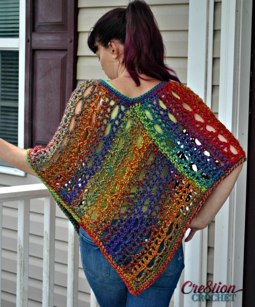 Free Poncho Pattern.  Easy lace design.  Two sizes.