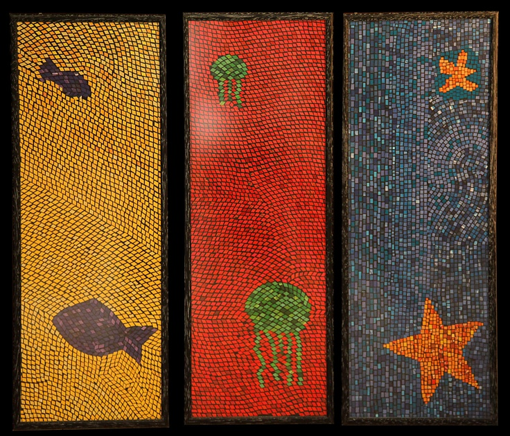 Sea play, paper mosaic collage from magazine pages, 30 X 70 cm, 3 different frames