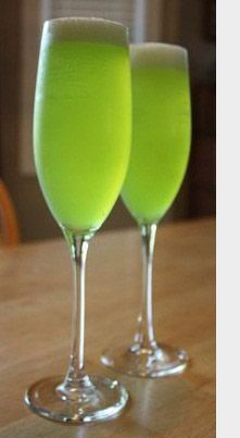 Green Dragon  Amazing green in color and decorations will make your day amazing. Here are the ingredients:        Midori - 1 shot      Champagne    Pour the 1 shot midori in the champagne flute and then fill the flute with Champagne. And here your cocktail is ready.  Add a green lime peel with a red orchid flower.  Have Fun!!!