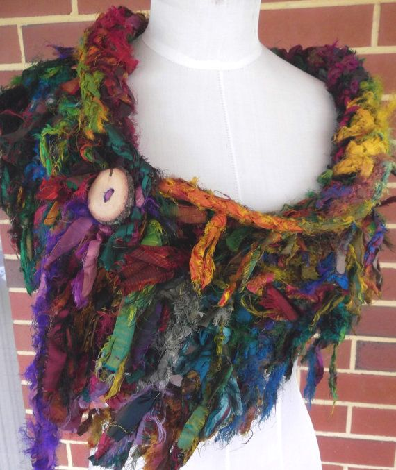 Earthy Tattered Recycled Sari Silk  Scarf Collar Wrap par plumfish, $55,00