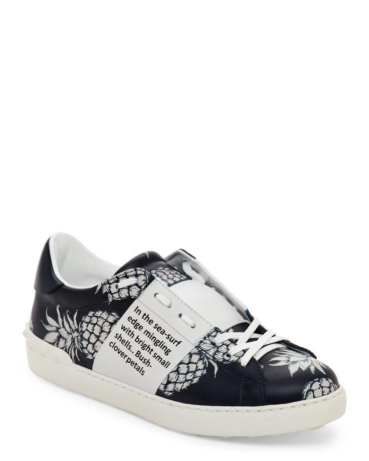 Valentino Garavani Marine & White Pineapple-Print Low Top Sneakers