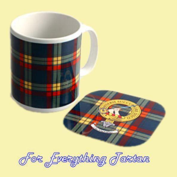 Clan Tartan Badge Ceramic Mug And Wooden Coaster Gift Set
