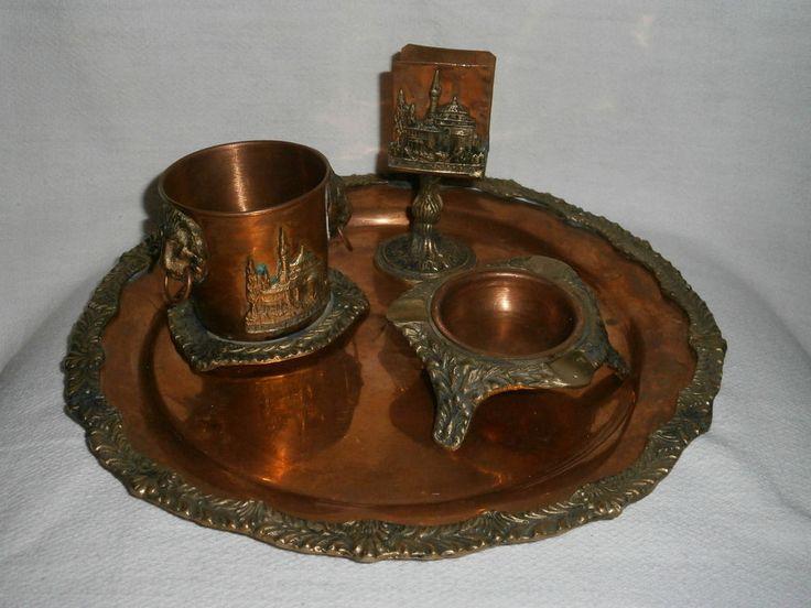 Vintage Asian Copper Set - Napkin holder Pencil holder ashtray & Tray