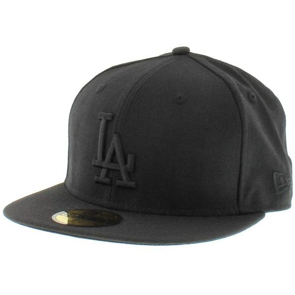 Los Angeles Dodgers All Black Hat New Era Cap 5950 Fitted ($24) ❤ liked on Polyvore featuring accessories, hats, cap, los angeles dodgers hats, la dodgers cap, fitted caps hats, dodgers hat and cap hats