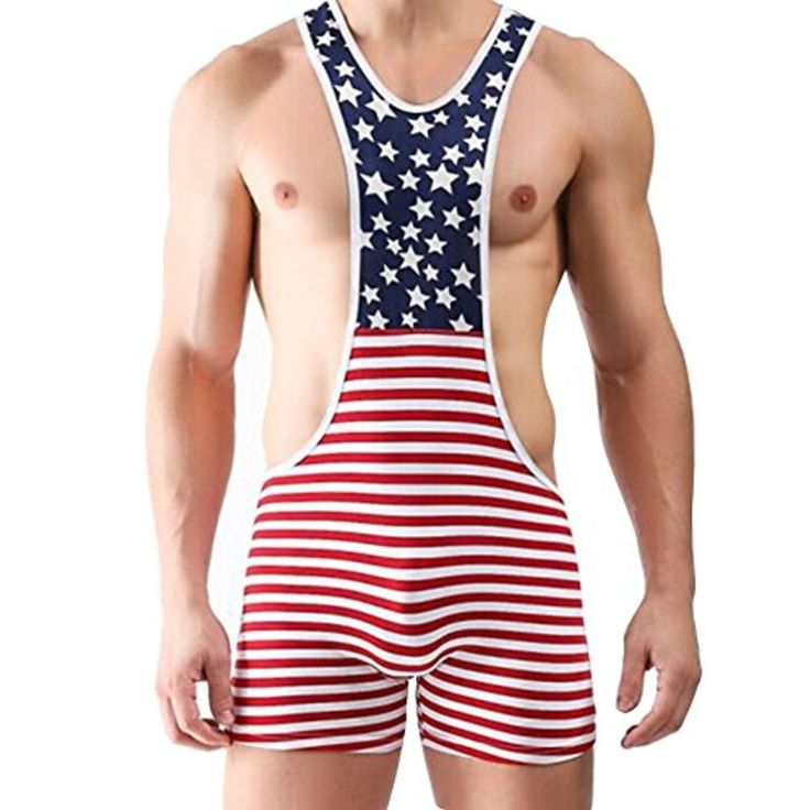 YiZYiF Men's One Piece American Flag Sport Bodysuit Leotard Gym Outfit Underwear Small - Brought to you by Avarsha.com