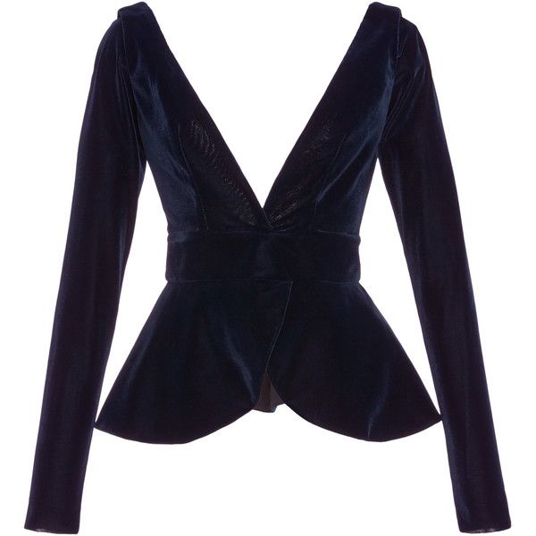 Leal Daccarett Ventura Velvet Long Sleeve Top (92690 DZD) ❤ liked on Polyvore featuring tops, leal daccarett, navy, long sleeve tops, velvet top, navy blue long sleeve top, open back tops and open back long sleeve top