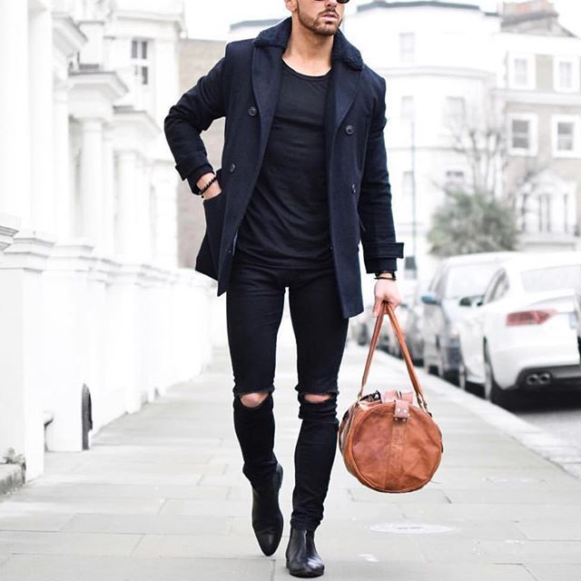 edgy use of the peacoat // menswear, mens style, fashion, street style, denim, monochrome, black, peacoat, fall, winter, duffel, weekend bag, chelsea boots, #sponsored
