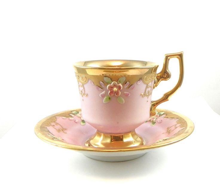 Vintage Cup and Saucer Gold Pink Flowers Demitasse Set.