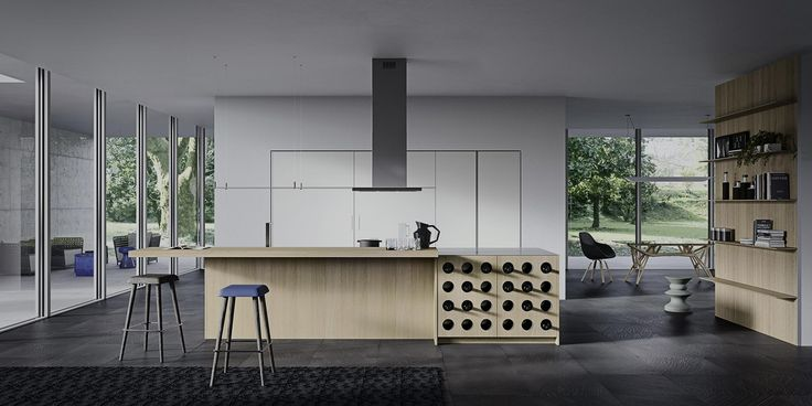 3.1 systems uses, for the cover of doors and side panels, materials can range from brushed oak to lacquered oak, from matt satin lacquer to glossy lacquer, from innovative materials as fenix, tecnomalta to glass and ceramic gres. Oak is characterized by a very deep brushing, which points out the structure of wood, exalting features of hardness and tangible texture. Matt satin lacquered finish is matte and uniform, the shallow embossing gives a good scratch resistance.