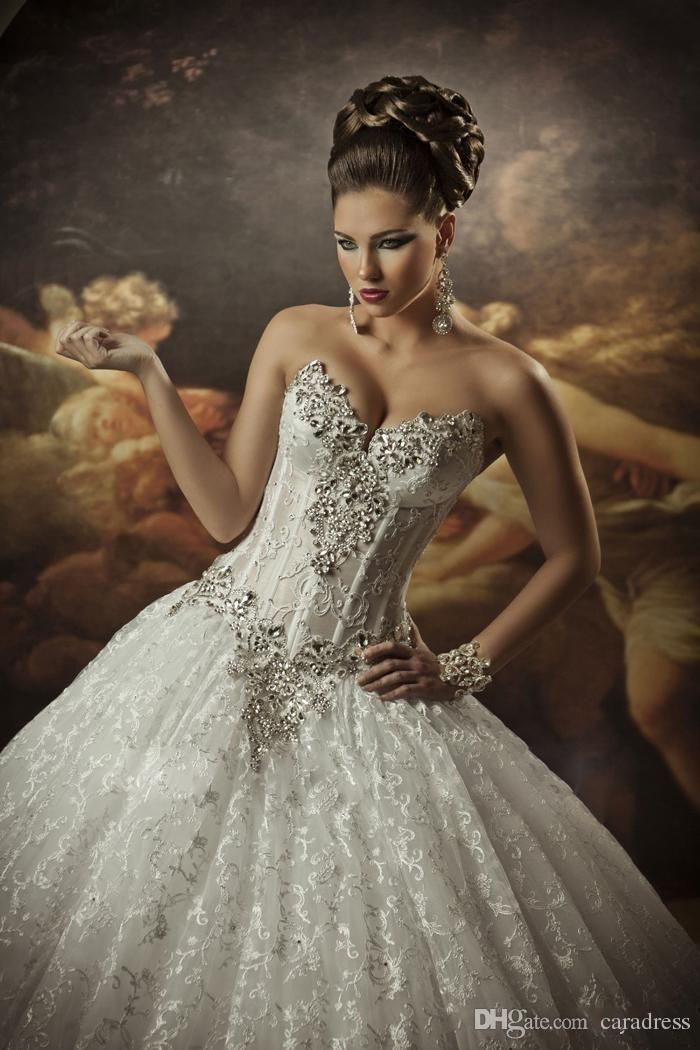 Princess Lace Ball Gown Wedding Dresses with Rhinestones Sweetheart Beaded Lace Cathedral Bridal Gowns Crystals 2015 Wedding Dresses J1121 Online with $183.25/Piece on Caradress's Store   DHgate.com