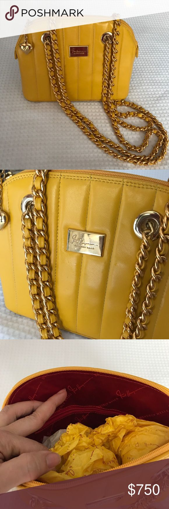 "Vintage Fred Hayman Bag This is the iconic Fred Hayman Yellow from the flagship Giorgio of Beverly Hills store on Rodeo Drive. Kept in pristine condition since the 1980's. This is a ""Pretty Woman"" must have bag. Rare find! One small blemish is noted in the photos but does not take away from the bag's beauty. Buttery leather with heavy straps in the vein of a Chanel bag. Fred Hayman Bags Shoulder Bags"