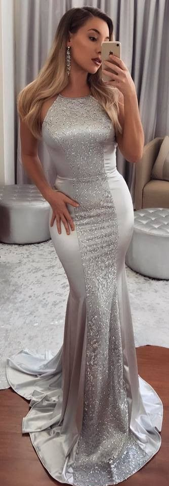 Silver Beadings Mermaid Prom Dresses Halter Neck Sleeveless Evening Gowns