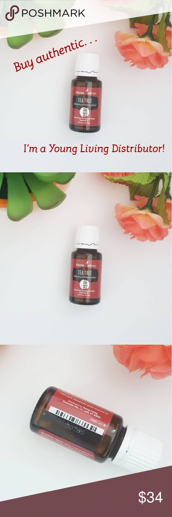 Young Living Tea Tree Essential Oil 15ml Brand new, authentic Young Living Tea Tree (melaleuci alternifolia) essential oil in size 15ml. Great all around oil for a clean scent, skincare, acne treatment, anti-fungal, refresher, antiseptic etc. **Don't buy oils that could be cut with chemicals or diluted and resealed. Buy from a trusted source, I am a Young Living Independent Distributor!** (Sample scents will vary, pic #5 is an example only) All essential oil prices are firm. Young Living…