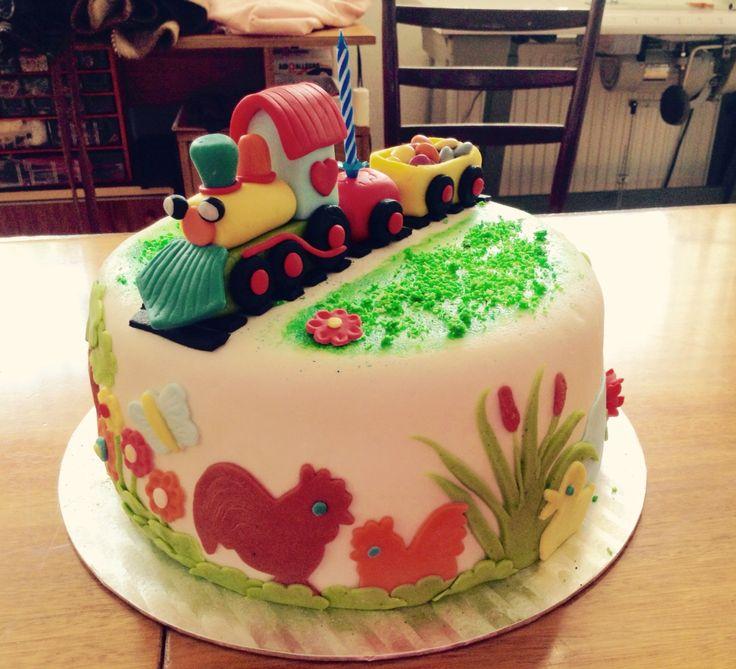 Farmárska torta s marcipánovým vláčikom  Marcipan train