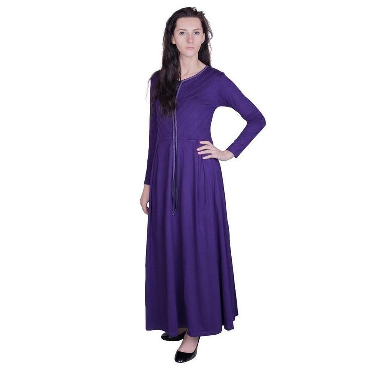 New Cotton Women Full Sleeve Maxi Jersey Abaya Farasha Dress Top Kaftan Jilbab #Zafirah
