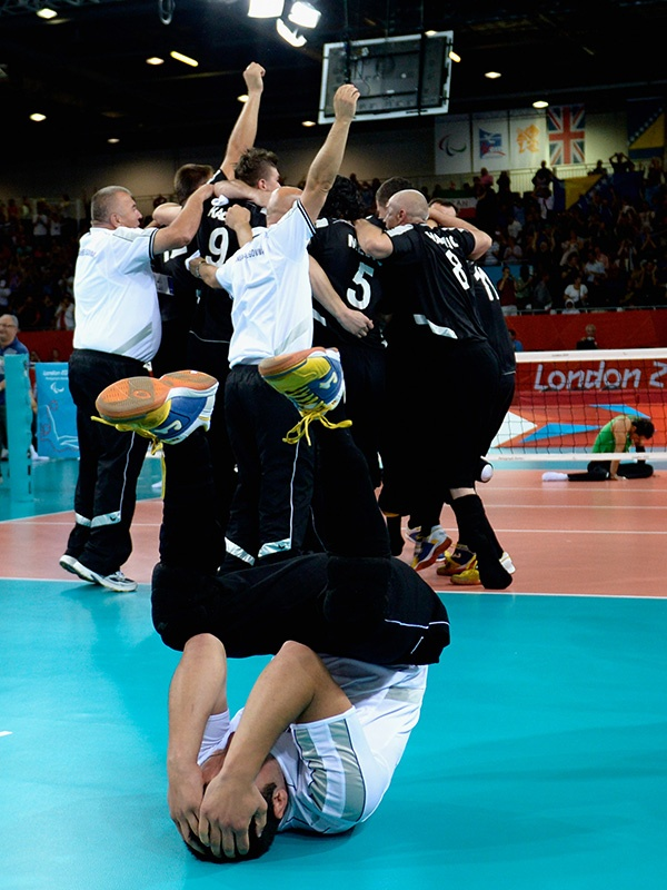 Adnan Kesmer of Bosnia and Herzegovina celebrates after winning the gold in the Men's Sitting Volleyball competition on day 10 of the London 2012 Paralympic Games at ExCel on September 8, 2012 in London, England. (Photo by Dennis Grombkowski/Getty Images)