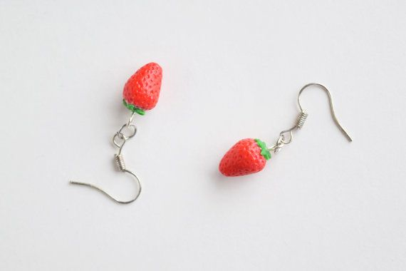 Fresh Strawberry Dangle Earrings  Miniature Food by TinySlice