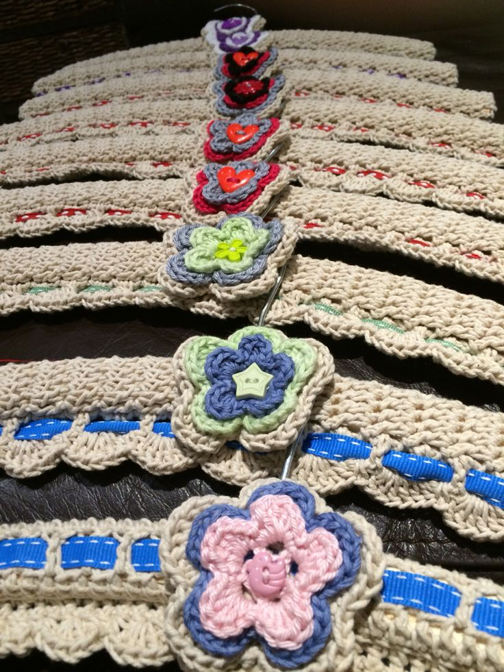 Crochet coat hanger covers