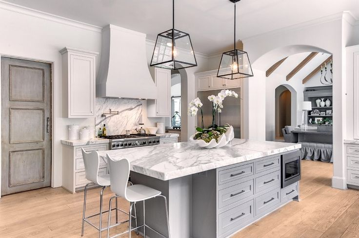 gray kitchen design idea - ADD WOODEN BEAMS ♥