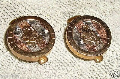 VICTORIAN COLLAR STUDS WITH VICTORIAN COLLARS-G.F./COPPER/STERLING-1884-EXC-NR
