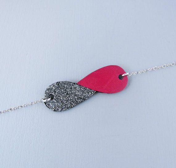 Bracelet Ananta cuir et tissu pailleté de forme par Sagarahbijoux