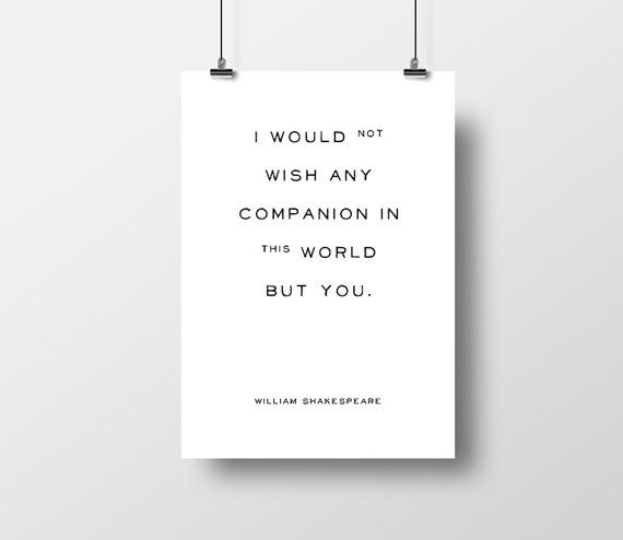 The Tempest, Shakespeare Quote, I would not wish, Typographic Print, Valentines Day, Romantic Quote, Love Quote, William Shakespeare, Book,