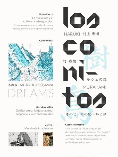 Ipad Magazine + Interactive Haruki Murakami by Valeria Ruiz Schulze, via Behance