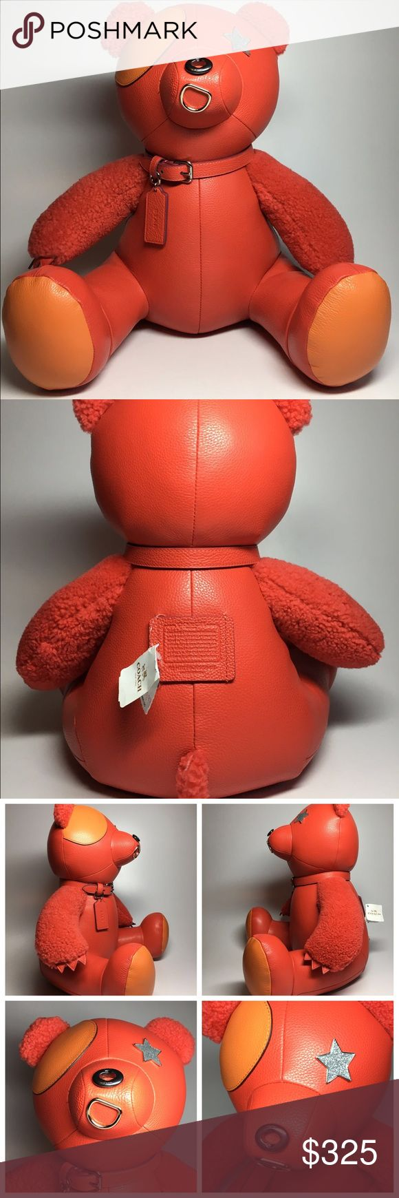 """NWT Coach Leather Bear Huggable Doll 15x15"""" inches Brand New With Tag Limited Edition Coach Bear named """"Star"""".   Stands approx 15 inches tall Approx 15 inches wide at his feet Collar has the Coach hang tag with his name stamped on one side and Coach on the other She is made of leather and has the label on her back. The label reads:  """"I am Star. A Coach Leather Bear.   I was created by a team of elves in the coach workshop  using bits and pieces of the finest handbags and jewelry.  My starry…"""