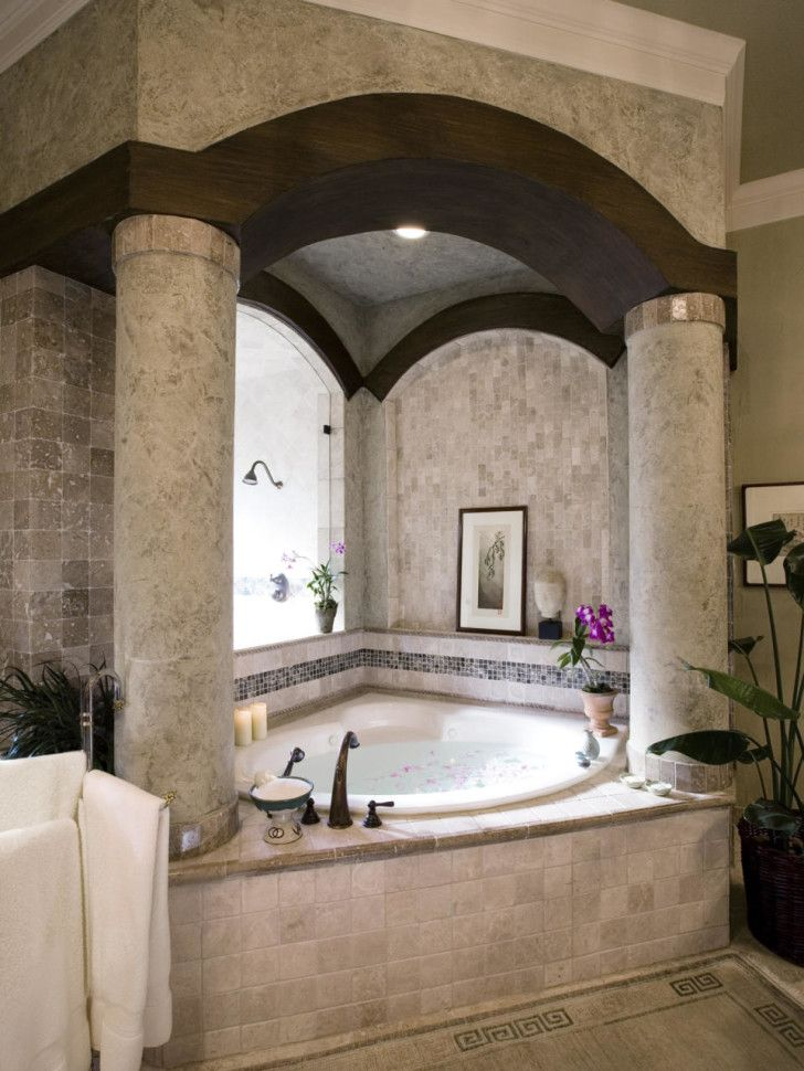 Bathroom Design, Awesome And Beautiful Classic Corner Bathtub With Elegant  Big Round Column And Chic Wood Beam Small Luxury Bathrooms Design Ideas: ...