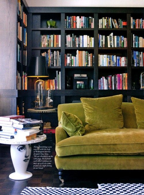 adore this green velvet sofa