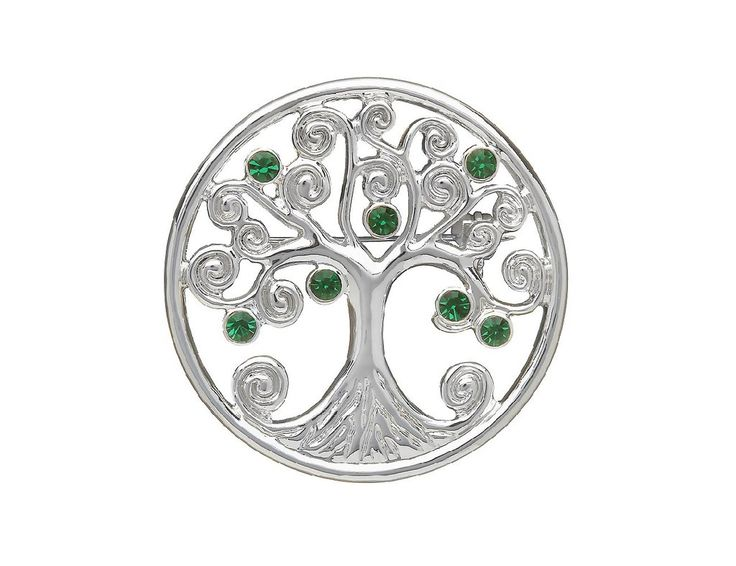 """The Celtic Tree of Life is believed to represent a sense of family, growth and unity making it a beautiful and sentimental Irish gift! This Celtic brooch features a silver Tree of Life decorated with shining green cubic zirconia stones for a dash of color! The Celtic brooch measures approximately 1 ½"""" in diameter and is beautifully silver plated. The clover brooch features a secure bar fasten so you'll always have that sense of family! This Irish pin is crafted in Co. Dublin, Ireland"""