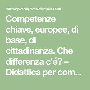 Competenze chiave, europee, di base, di cittadinanza. Che differenza c'é? – Didattica per competenze