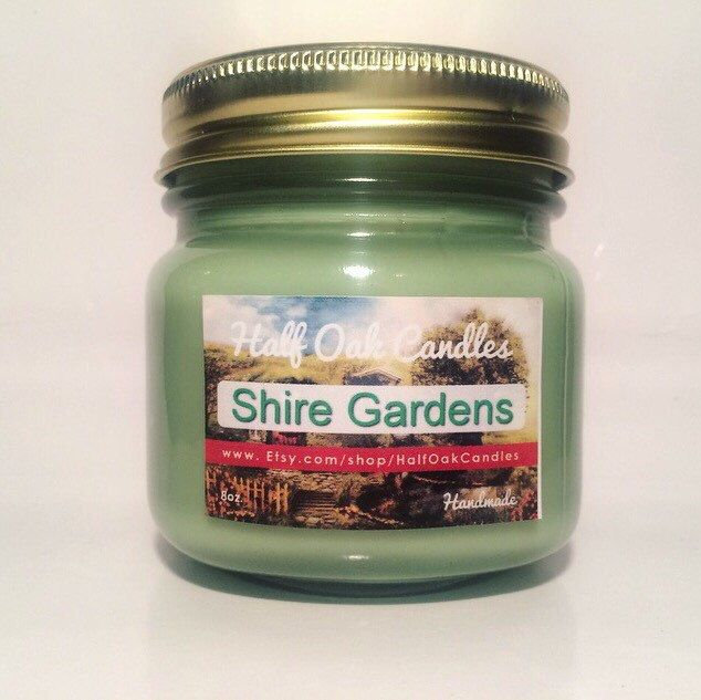 Shire Gardens Lord of the Rings Scented Candle Book Inspired Gift  8 oz mason Jar Soy Candle by HalfOakCandles on Etsy https://www.etsy.com/listing/255099664/shire-gardens-lord-of-the-rings-scented