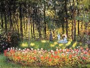The Artists Family In The Garden  by Claude Oscar Monet